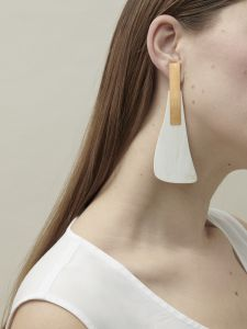 Organic statement earrings on pin