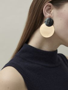 earrings horn and bronze circles
