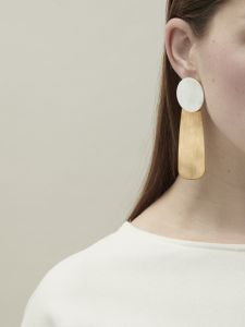 earrings horn long and bronze