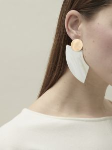 earrings horn half moon SM + bronze
