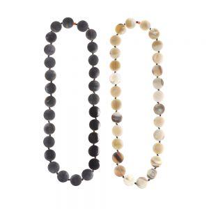 necklace horn matte coins