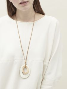oval pendant and bronze on cord